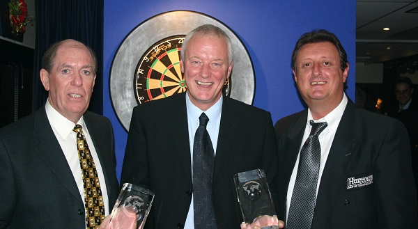 Eric Bristow & John Lowe with Barry Hearn (PDC)