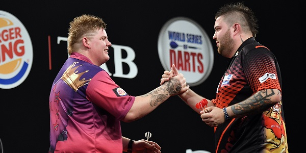 Corey Cadby & Michael Smith - Auckland Darts Masters, presented by TAB & Burger King (Photosport, PDC)