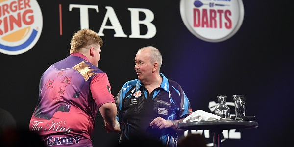 Corey Cadby & Phil Taylor - Auckland Darts Masters, presented by TAB & Burger King (Photosport, PDC)