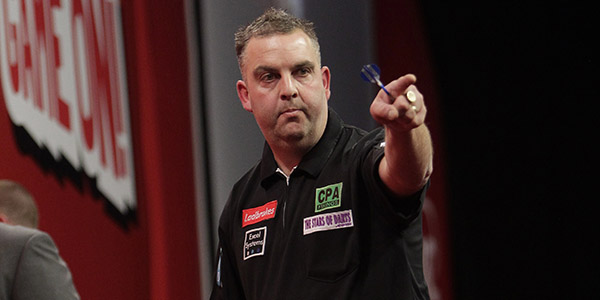 James Richardson celebrating (Lawrence Lustig, PDC)