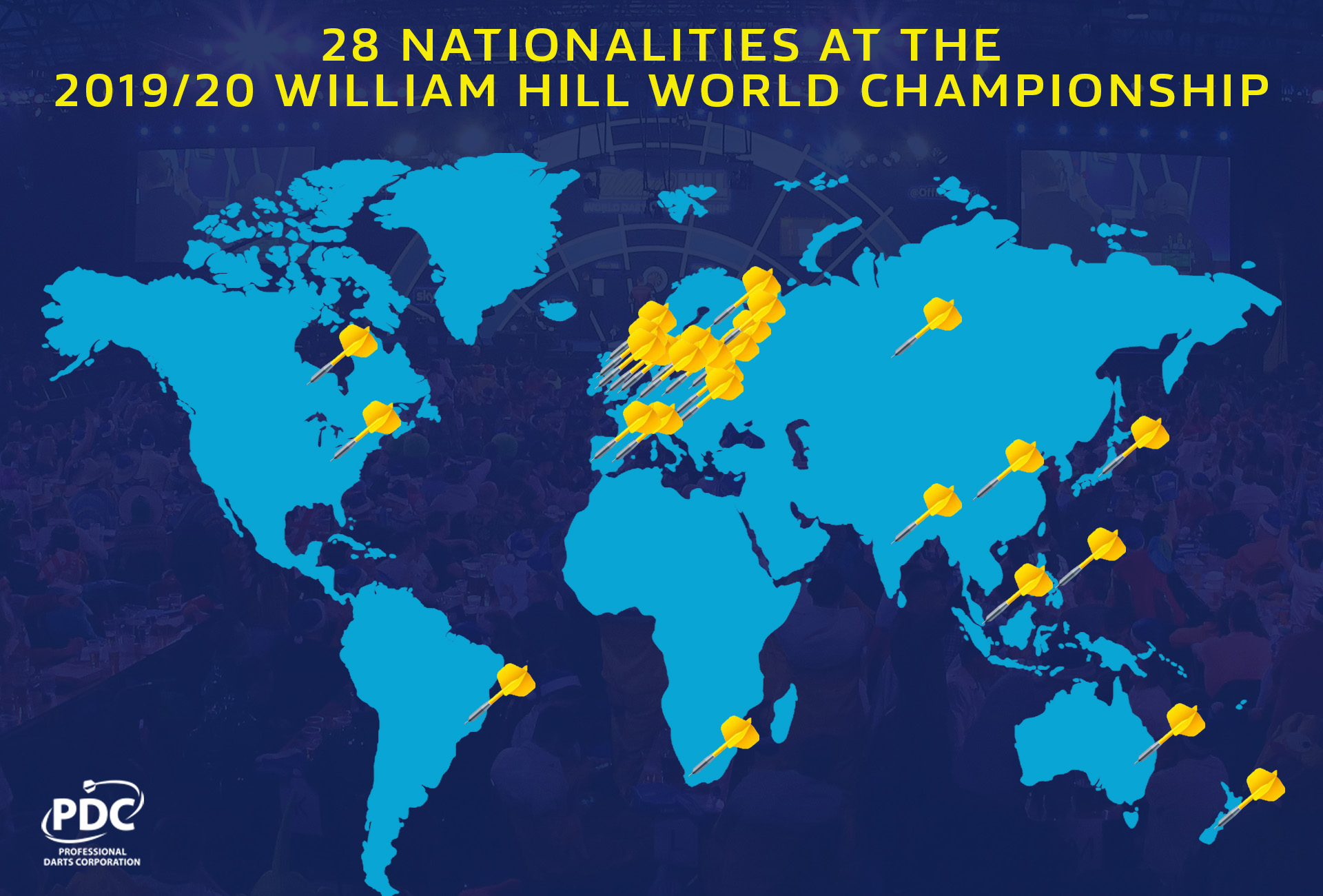 Nationalities on map at World Championship (PDC)