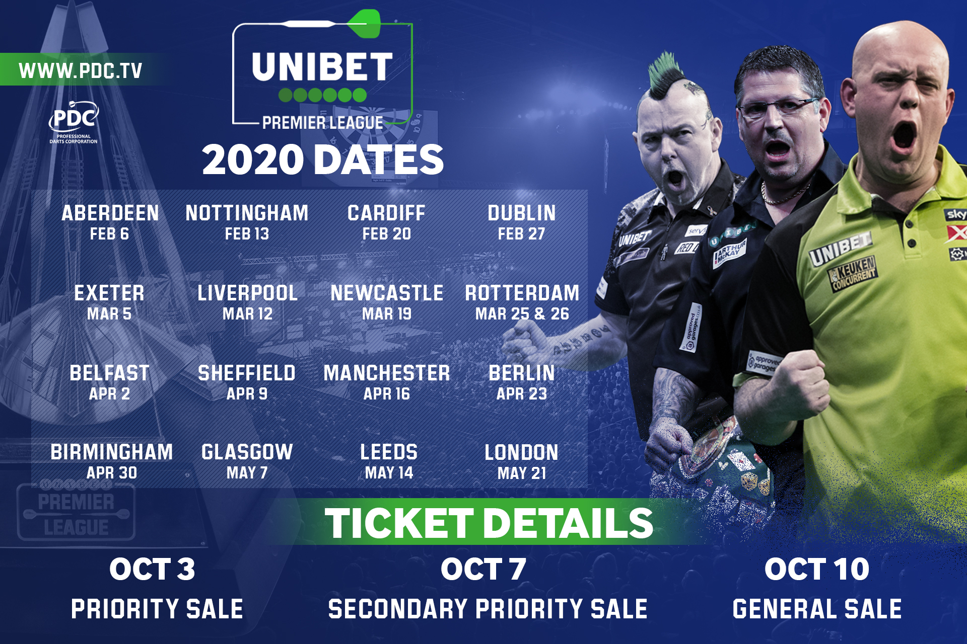 2020 Unibet Premier League dates (PDC)
