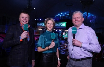 ITV presenter Jacqui Oatley MBE with Chris Mason & Alan Warriner-Little (Lawrence Lustig, PDC)