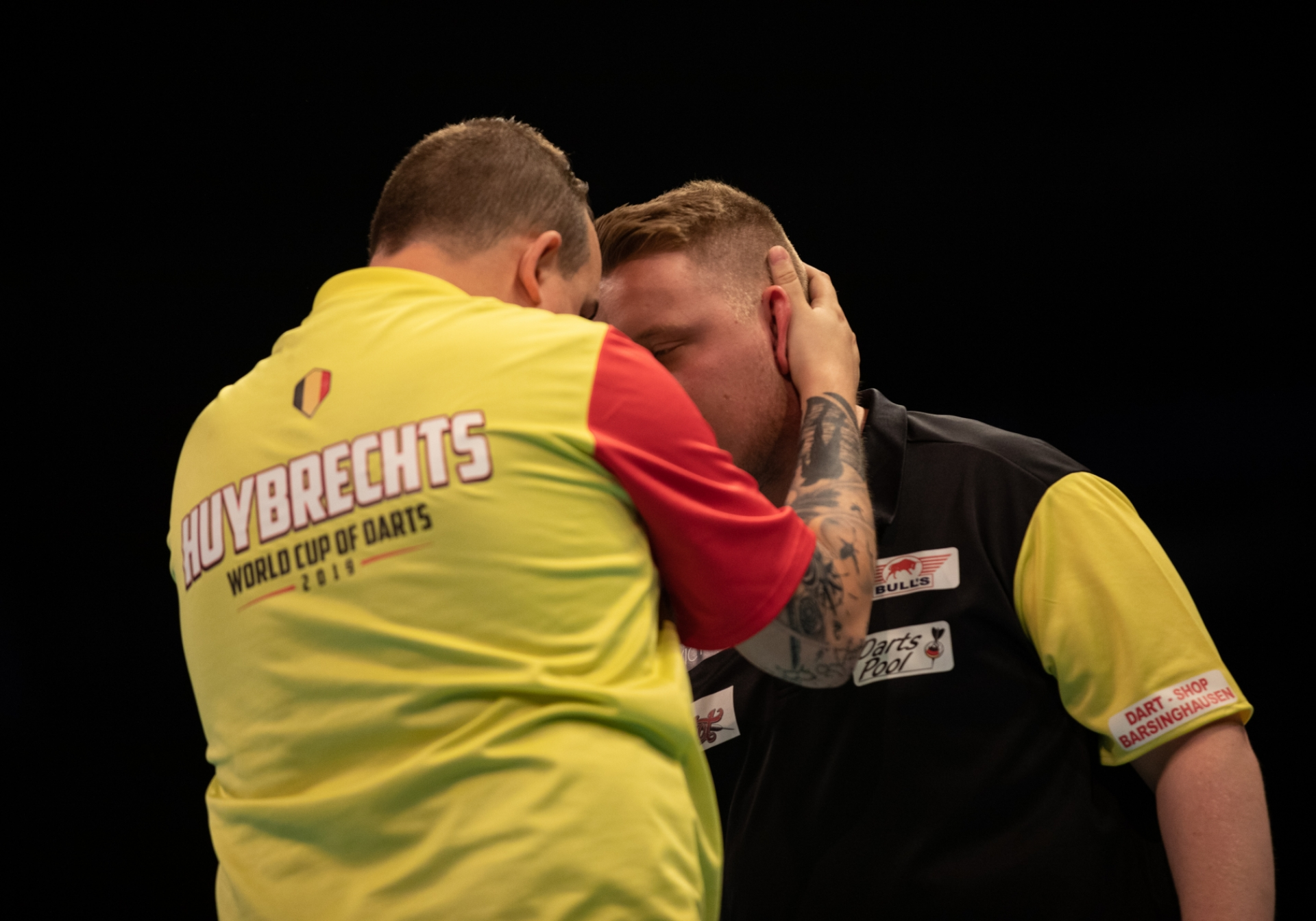 Belgium's Kim Huybrechts and Germany's Martin Schindler - BetVictor World Cup of Darts (Stefan Strassenberg)