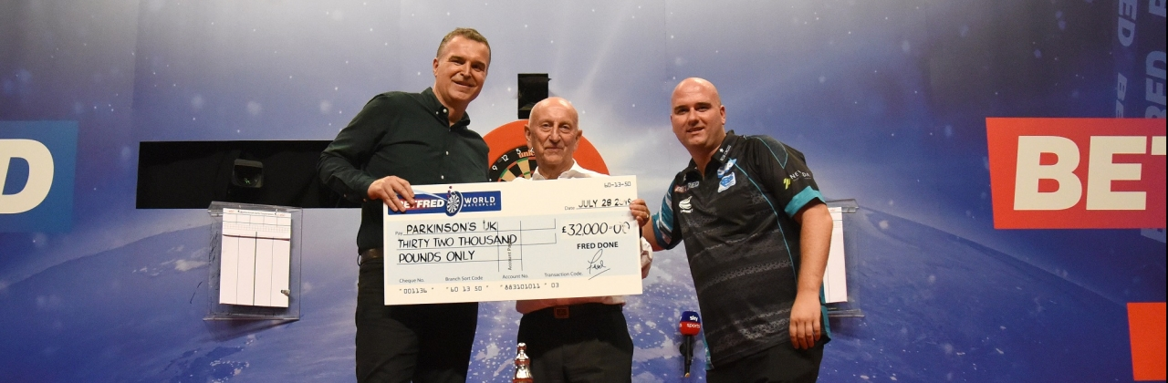 Betfred's Fred Done with Dave Clark & Rob Cross (Chris Dean, PDC)