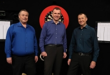 Sky Sports' John Part, Dave Clark and Wayne Mardle (Lawrence Lustig, PDC)